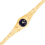 10K Gold Black Dial Circular Face Nugget Watch