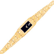 10K Gold Black Dial Rectangular Face Nugget Watch