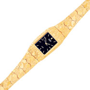 10K Gold Black Dial Square Face Nugget Watch