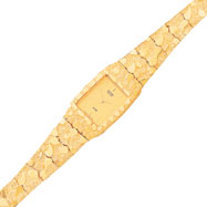 10K Gold Yellow Dial Square Face Nugget Watch
