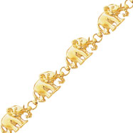 14K Gold Diamond-Cut Large Marching Elephants Bracelet