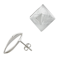 Sterling Silver Modern Style Stud Earrings