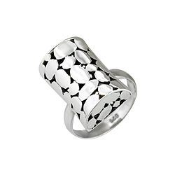 Sterling Silver Cobblestone Rectangular Ring