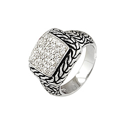 Designer Inspired Sterling Silver Pave Cushion Carved Chain Ring