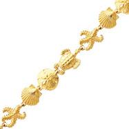 14K Gold Sea Life Theme Bracelet