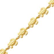 14K Gold Swimming Sea Turtle Bracelet