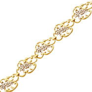 14K Two-Tone Gold Scalloped Oval With Flower Bracelet