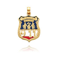 14K Gold Enameled New York Police 911 Badge Pendant