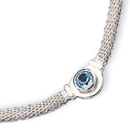 Sterling Silver Blue Topaz & Mesh Fancy Necklace