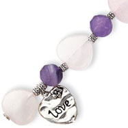 Sterling Silver Antiqued Love Heart & Rose Quartz Amethyst Bracelet