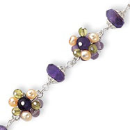 Sterling Silver Amethyst Cultured Pearl Peridot Stone Cluster Bracelet