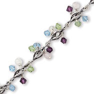 Sterling Silver  Multi-Colored Crystal Bracelet