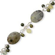 Sterling Silver Prehnite Jade Cultured Green Pearl Bracelet