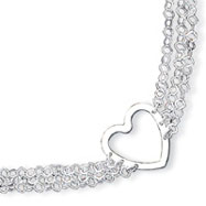 Sterling Silver Tripple Link Heart Necklaces