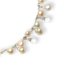 Sterling Silver White Cultured Button Pearl & Crystal Necklace