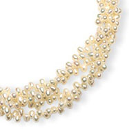 Sterling Silver 4-4.5mm Freshwater Cultured Rice Pearl Necklace