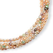 Sterling Silver 5.5-6mm Freshwater Cultured Button Pearl Necklace