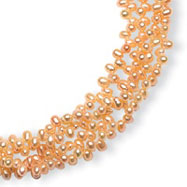 Sterling Silver 4-4.5mm Freshwater Cultured Pink Pearl Necklace