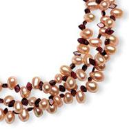 Sterling Silver 7.5-8.5mm Freshwater Cultured Pink Pearl & Garnet Necklace