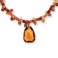 Sterling Silver Agate, Citrine, Amber Glass Necklace