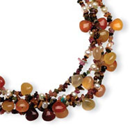 Sterling Silver Four Strand Cultured Pearl, Tourmaline, Tigers Eye, Agate Necklace
