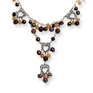 Sterling Silver Carnelian, Freshwater Cultured Brown Pearl Necklace