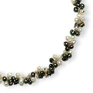 Sterling Silver Freshwater Cultured White, Green Pearl Necklace