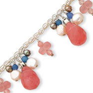 Sterling Silver Cherry Quartz, Blue Agate, Freshwater  Cultured Pearl Bracelet