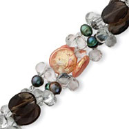Sterling Silver Smoky Quartz & Peach Coin Freshwater Cultured Green Pearl Bracelet