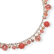 Sterling Silver Cherry Quartz, Freshwater Cultured Pink Pearl Necklace