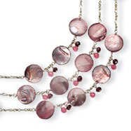 Sterling Silver Cherry Quartz, Garnet, Mother Of Pearl Necklace