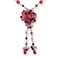 Sterling Silver Strawberry, Cherry Quartz & Rhodolite Garnet Necklace