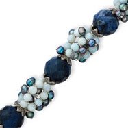 Sterling Silver Blue Lace Agate, Sodalite, Freshwater Cultured Peacock Pearl Bracelet