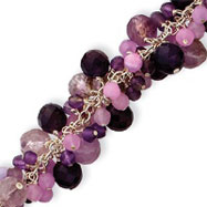 Sterling Silver Amethyst, Lavender Agate, Rose & Cherry Quartz Bracelet