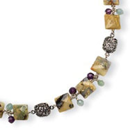 Sterling Silver Antiqued Amethyst, Green Agate, Jasper Necklace
