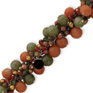 Sterling Silver Carnelian, Jade, Unikite, Prehnite, Cultured Gold Pearl Bracelet