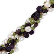 Sterling Silver Garnet, Amethyst, Peridot Chips, Freshwater Cultured Pearl Bracelet