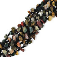 Sterling Silver 9 Strand Multicolored Earth Stones & Black Bead Bracelet