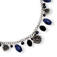 Sterling Silver Sodalite, Blue Goldstone, Black Crystal, Cultured Pearl Necklace