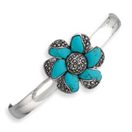 Sterling Silver Marcasite Turquoise Cuff Bangle