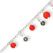 Sterling Silver Red Bead Anklet