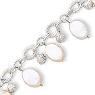 Sterling Silver Beads & Biwa Pearls Dangle Link Bracelet