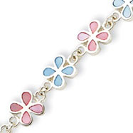 Sterling Silver Mother Of Pearl Flower Bracelet