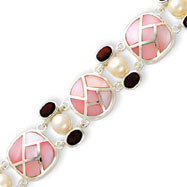 Sterling Silver Pearl And Garnet Color CZ & Pink Mother Of Pearl Bracelet