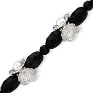 Sterling Silver Flower & Onyx Bracelet