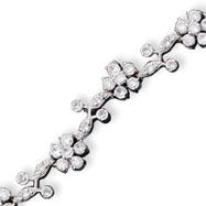 Sterling Silver CZ Flower Bracelet