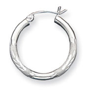 Sterling Silver 2.50mm Satin Diamond-Cut Hoop Earrings