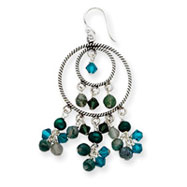 Sterling Silver Freshwater Cultured Green Pearl, Crystal, Quartz Dangle Earrings