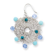 Sterling Silver Turquoise Blue Agate And Light Blue Crystal Earring