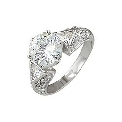 Sterling Silver Round CZ Engagement Ring with Triangular Side Stones